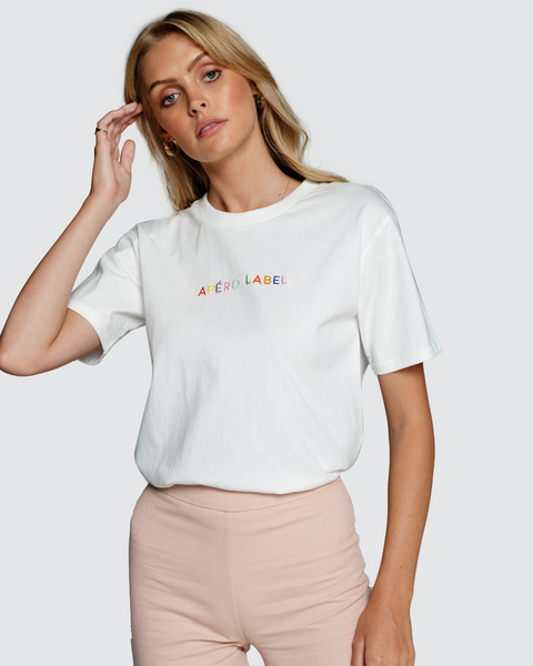 Apero The Label Embroidered Tee - White/Multi