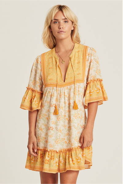Arnhem Lily Mini Dress - Lemon Drop
