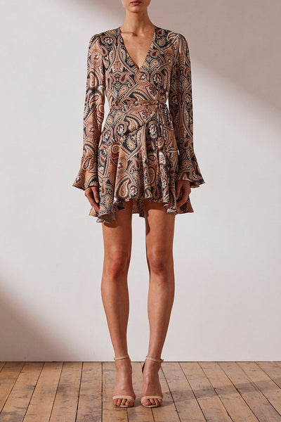 Shona Joy Hendrix Frill Cuff Wrap Mini Dress - Paisley