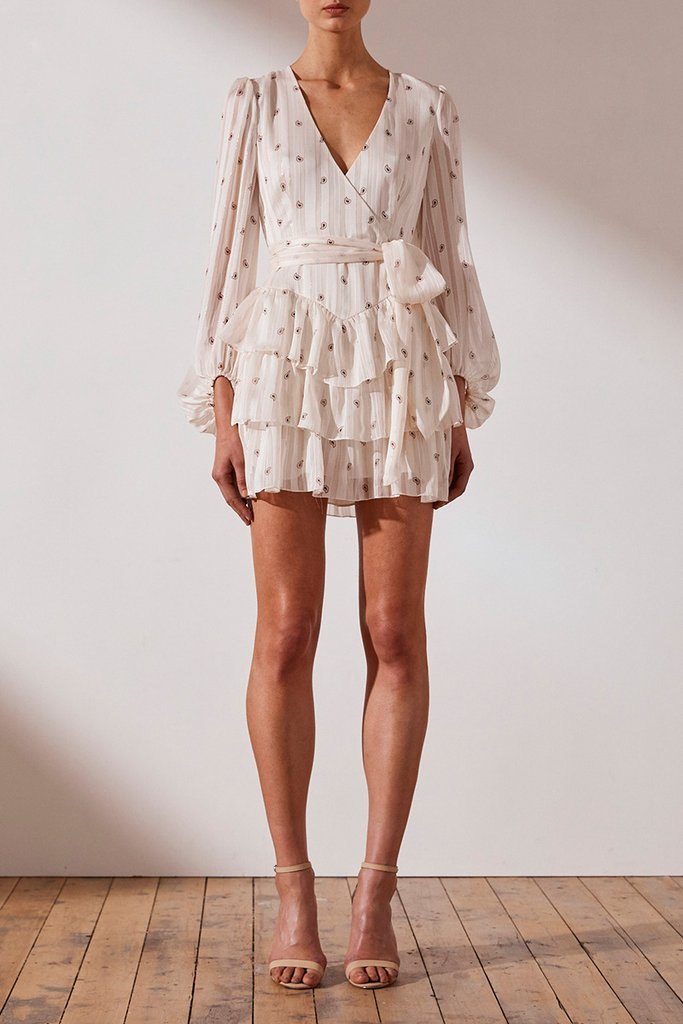 Shona Joy Sedgwick Tiered Mini Dress - Bone/Brandy