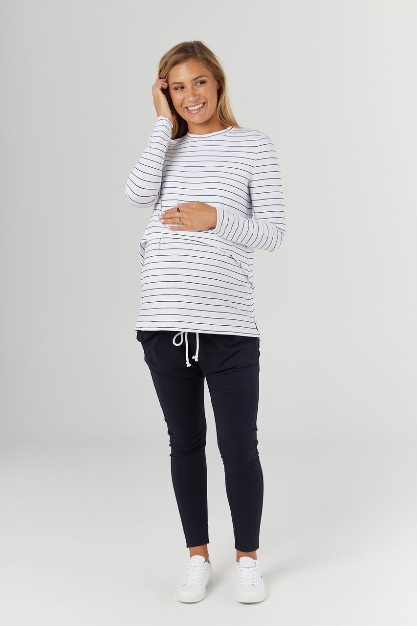 Legoe Solitude Nursing Tee - White/Black Stripe