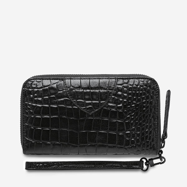 Status Anxiety Moving On Wallet - Black Croc Emboss