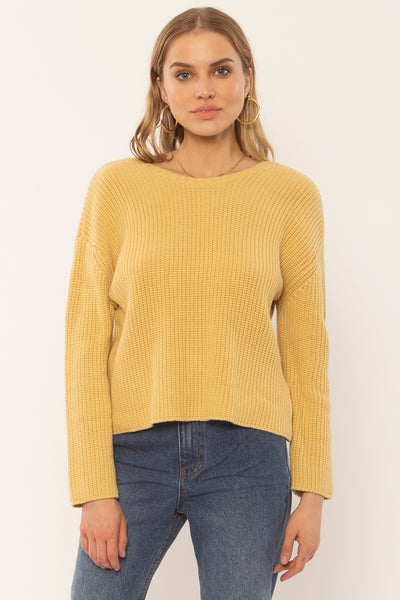 Amuse Society Sunset Road L/S Knit Sweater - Golden Hour