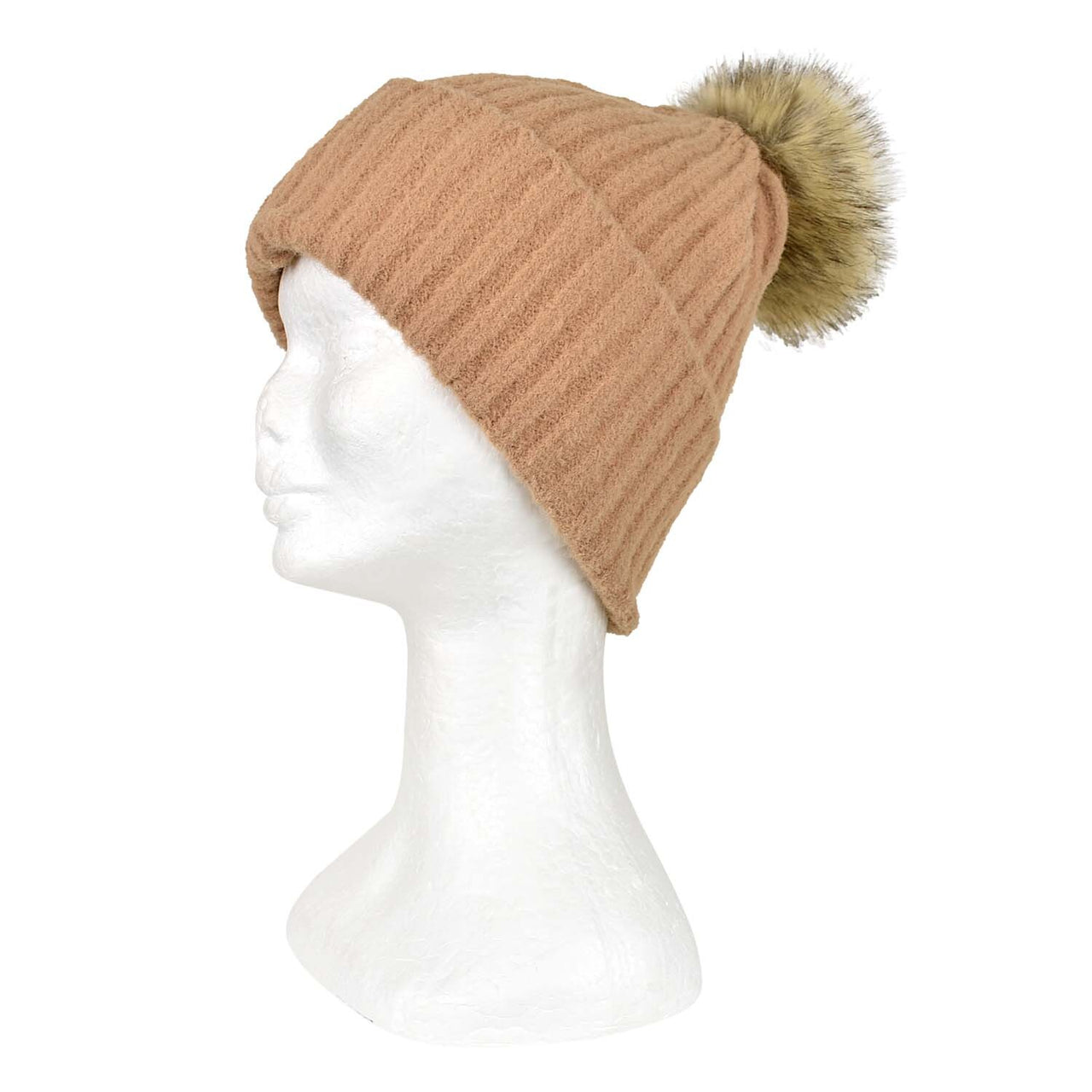 Taylor Hill Plain Stripe Knit Beanie - Camel
