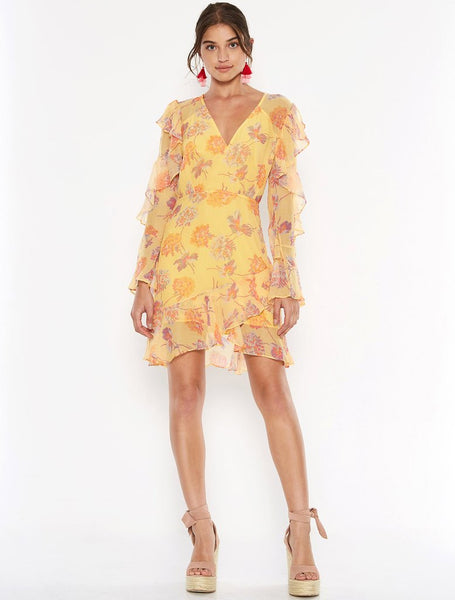 Talulah Cerulean Mini Dress - Yellow Vintage Floral