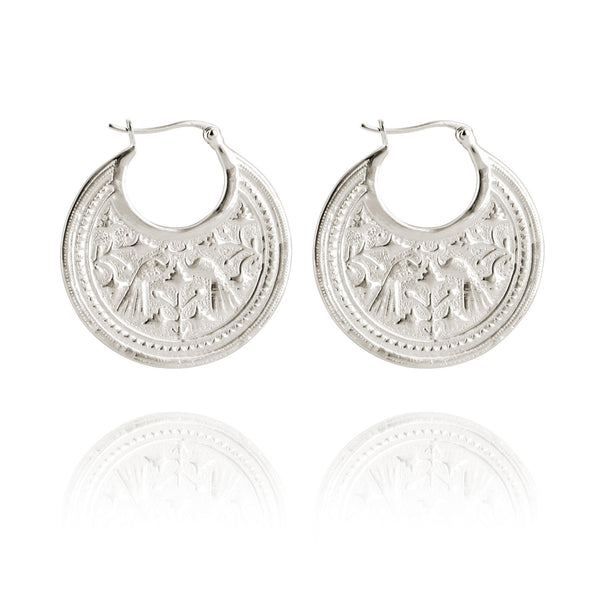 Temple Of The Sun Peacock Earrings - Silver