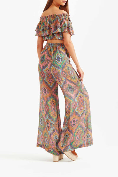 Tigerlily Delon Wide Leg Sheer Pant - Multi