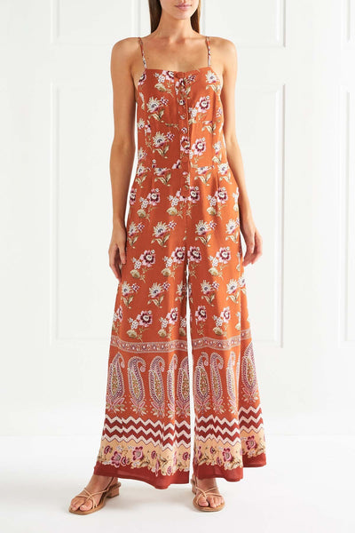 Tigerlily Heloise Button Jumpsuit - Rust