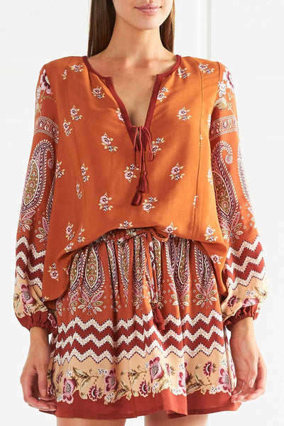 Tigerlily Heloise Peasant Blouse - Rust