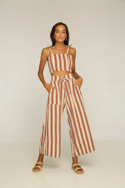 Rue Stiic Anni Laced Pant- Brown Stripe