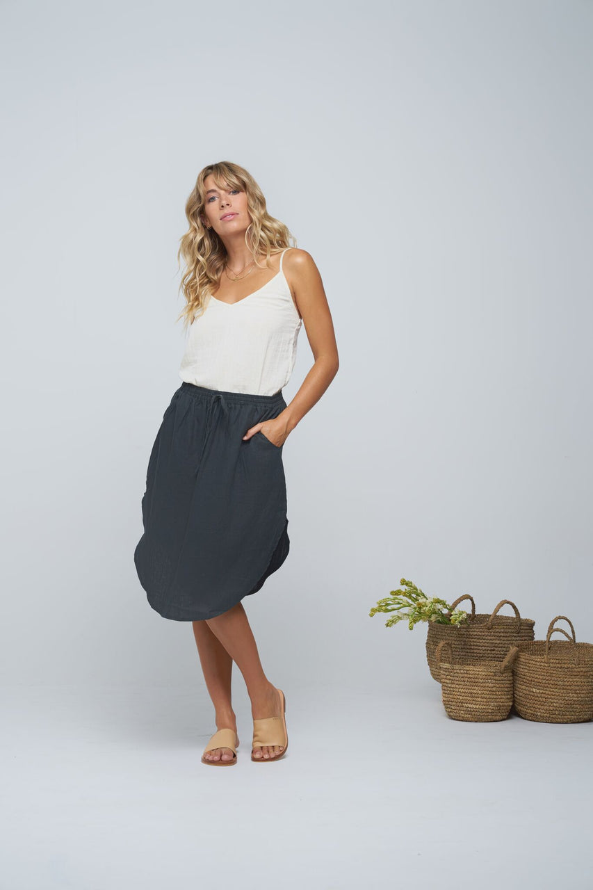Indian Summer Co Dharmi Skirt Charcoal