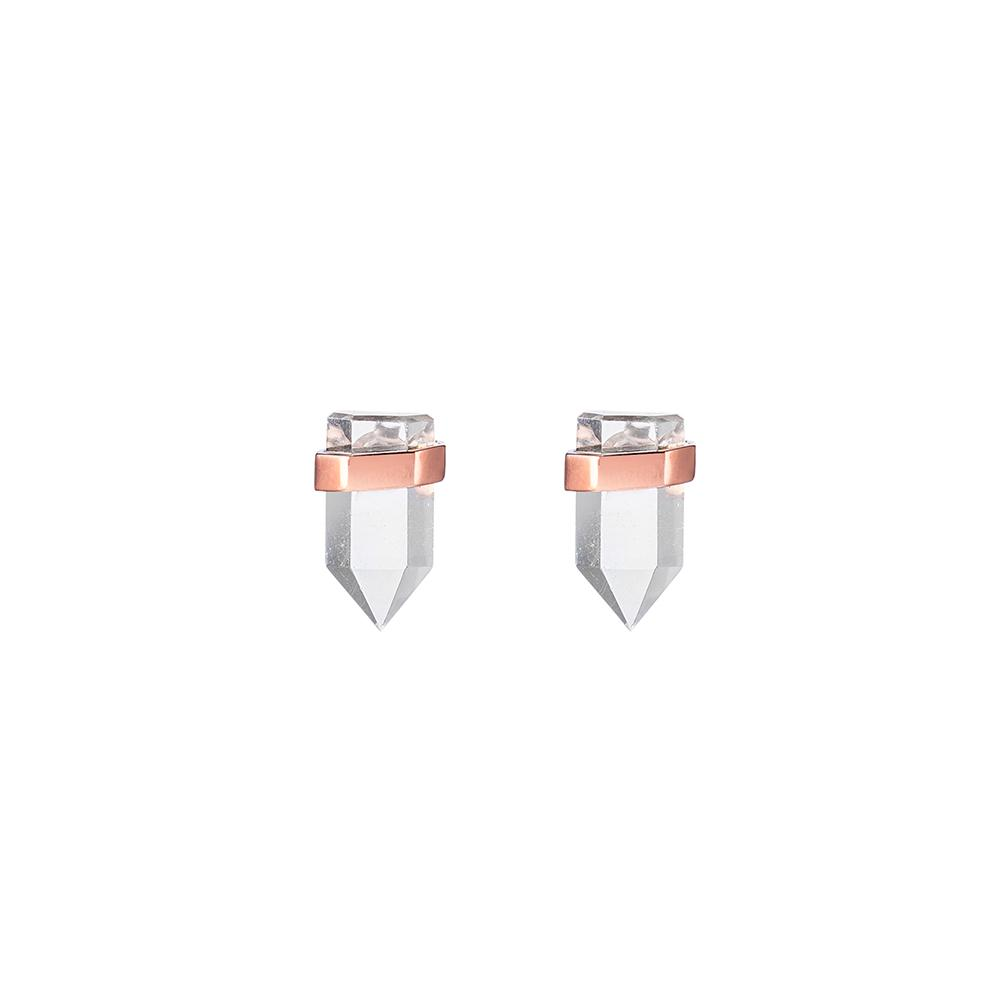 Krystle Knight Natural Sunlight Quartz Studs - Rose Gold