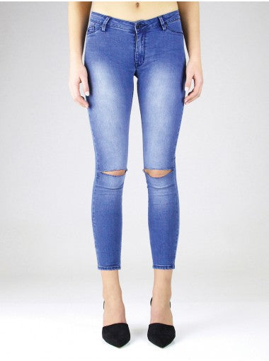Res Denim Trashqueen Skinny Crop Foam Slasher