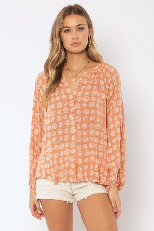 Amuse Society Charmer L/S Woven Blouse - Cognac