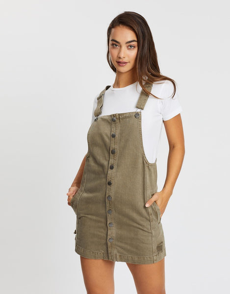 All About Eve Madeline Denim Pinafore - Khaki