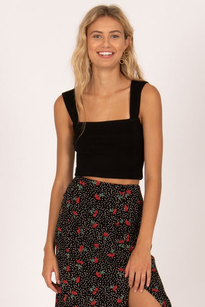 Amuse Society Easy Love Crop knit Top - Black