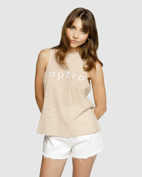 Apero La Petite Stripe Embroidered Tank - Mustard Stripe