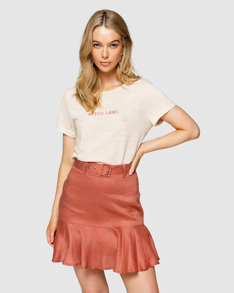 Apero Embroidered Femme Tee - Cream/Burnt Rose