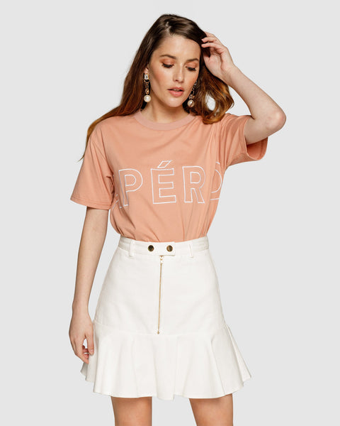 Apero Mondo Embroidered Tee - Apricot/White