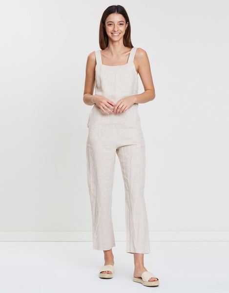 Assembly Label Wide Strap Linen Jumpsuit - Oat Marle