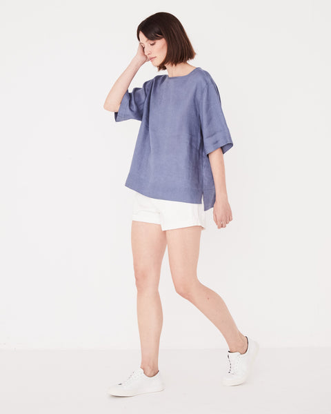 Assembly Label Boxy Linen Tee - Newport blue