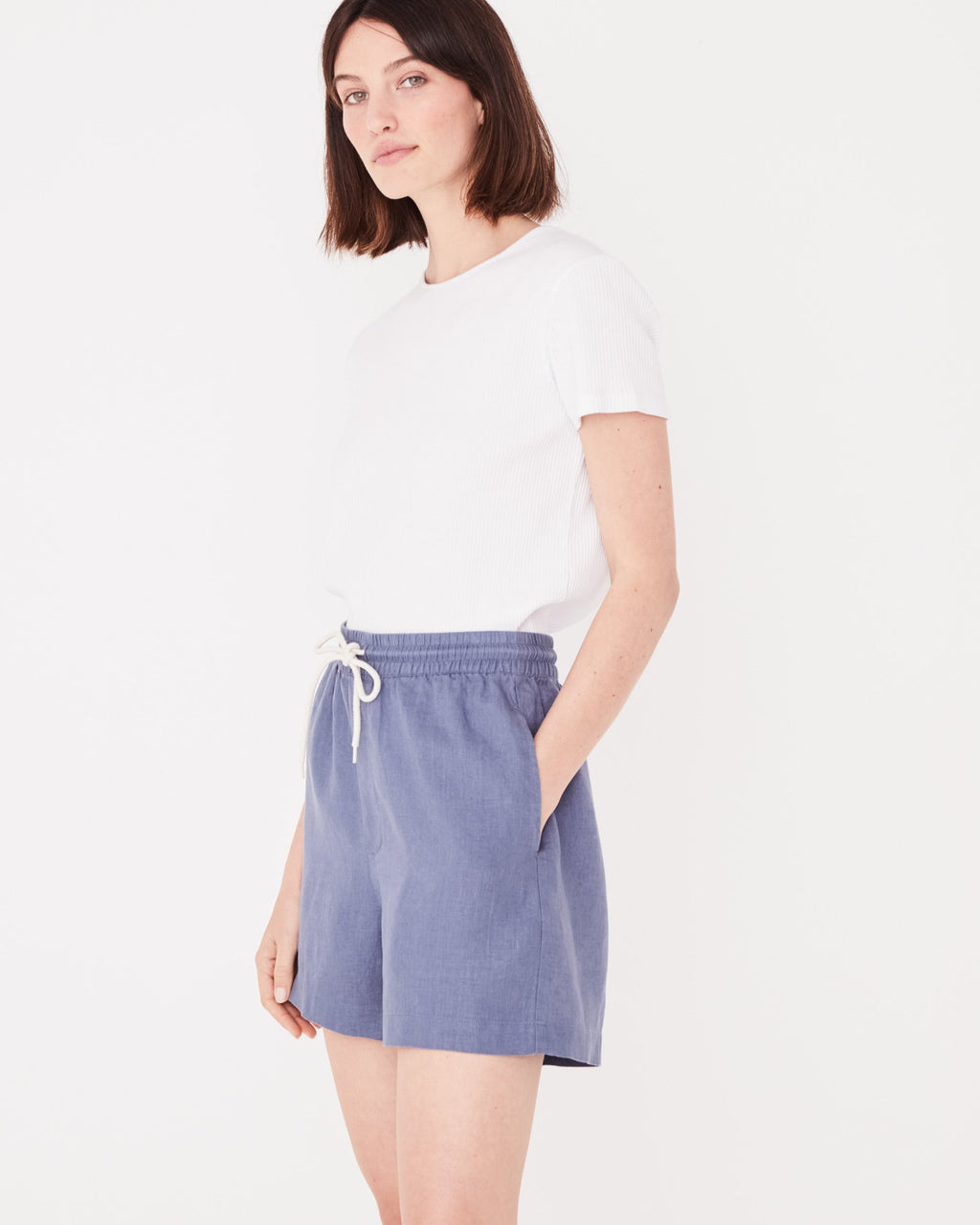 Assembly Label Ease Linen Short - Newport Blue