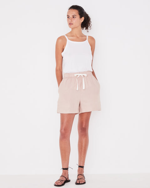 Assembly Label Ease Linen Shorts - Dusk