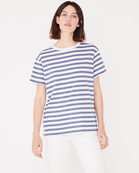 Assembly Label Essential Cotton Crew Tee - Newport Blue Stripe