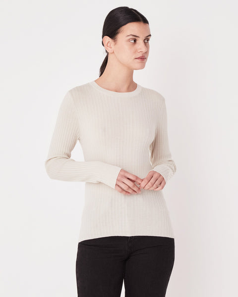 Assembly Label Rib Long Sleeve Knit - Chalk White