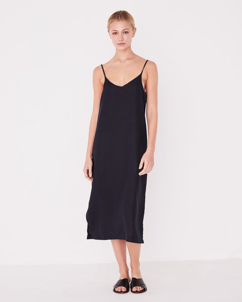 Assembly Label Linen Slip Dress - True Navy