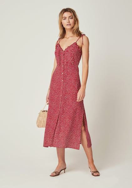 Auguste River Della Midi Dress - Red