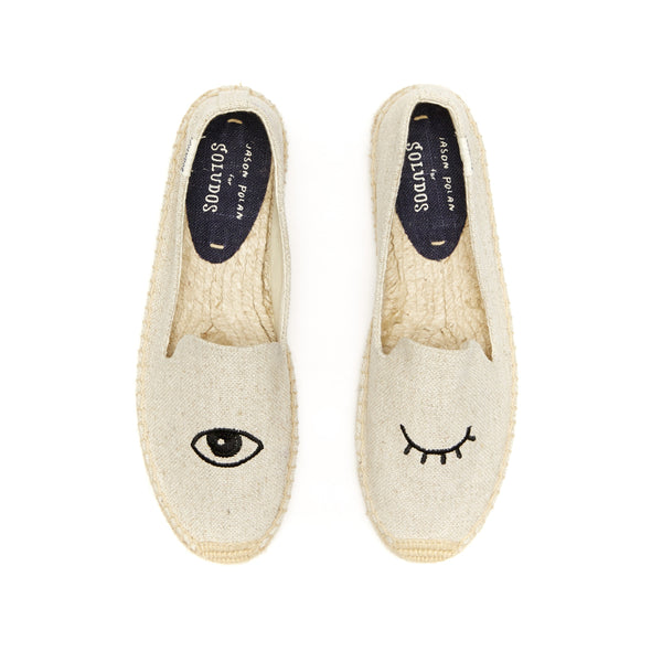 Soludos 'Wink' Embroidered Smoking Slipper - Sand