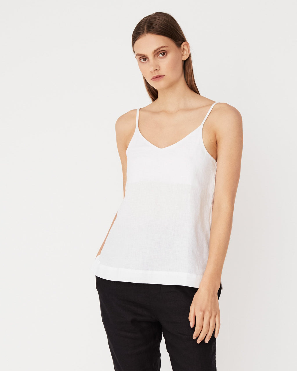 Assembly Label Linen Slip Top - White