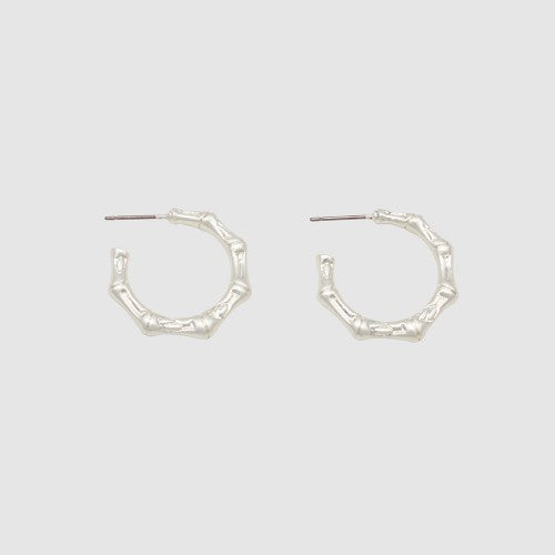 Jolie and Deen Bamboo Hoops Silver
