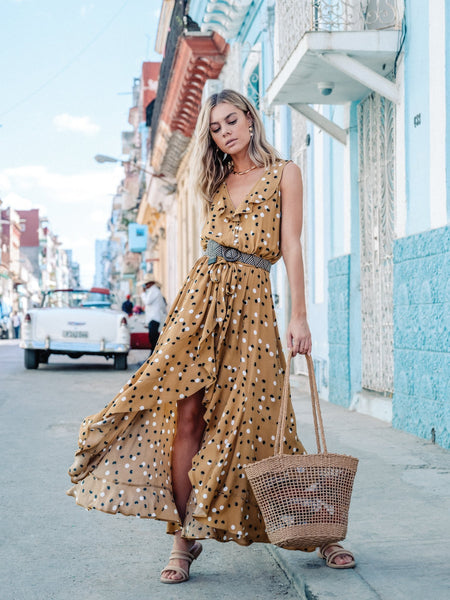 Kivari Dakota Maxi Dress - Tan Polka