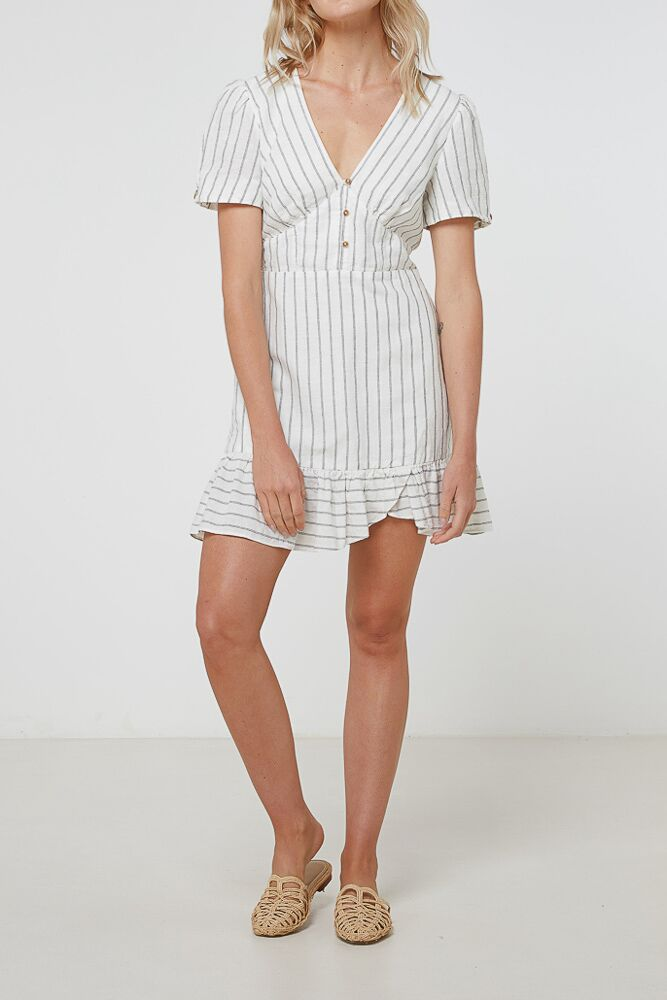 Elka January Dress - Linen Stripe