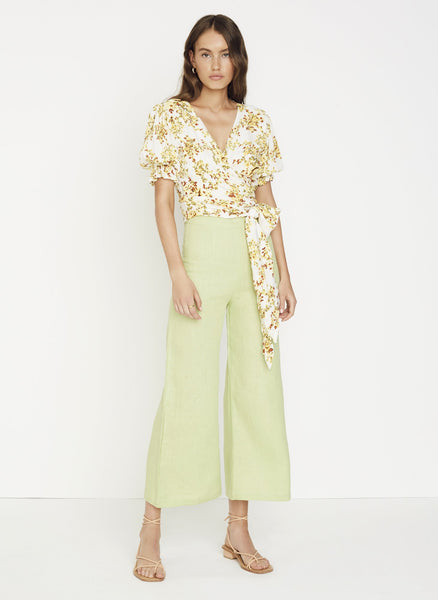 Faithfull The Brand Mali Wrap Top - Goldie Floral Off White