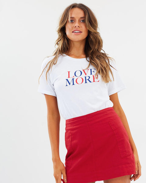 Nude Lucy Love More Slogan Tee - White