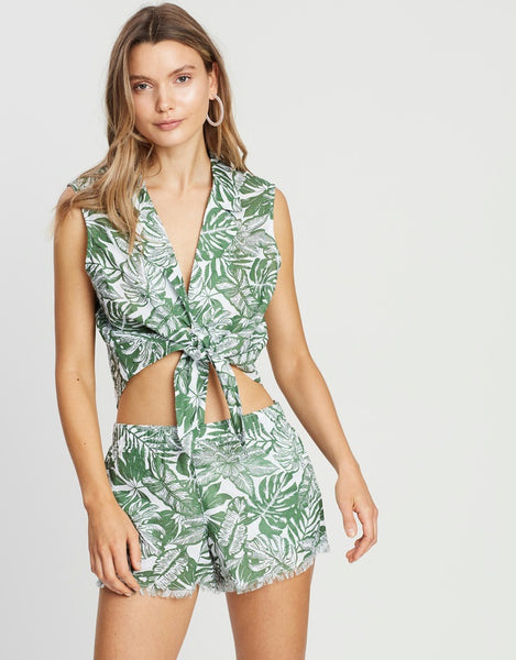 Nude Lucy Oasis Tie Crop - Palm