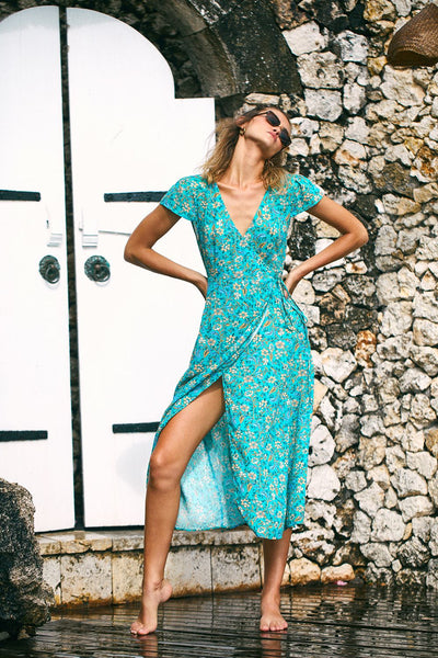 Arnhem Daisy Chain Wrap Dress - Poolside