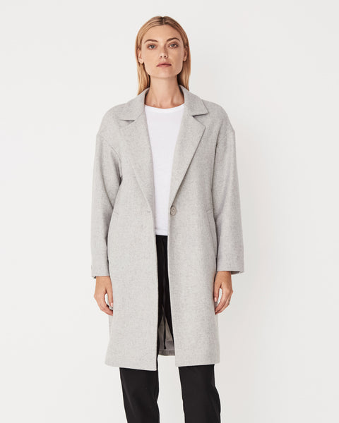 Assembly Label Lapel Wool Coat - Grey Marle
