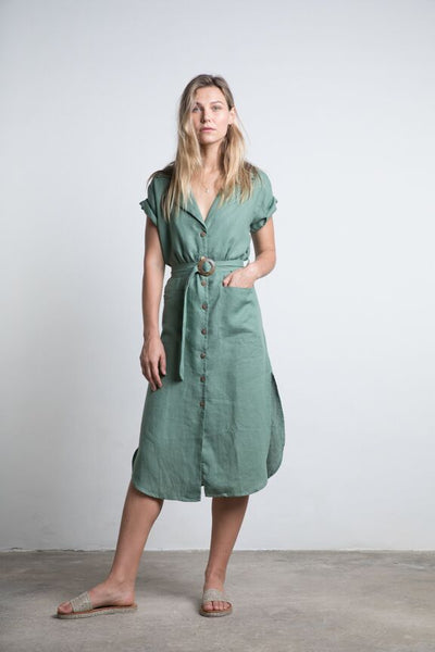 Lilya Cadiz Linen Dress - Fern