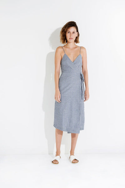 Nude Lucy Malloy Wrap Dress Stripe