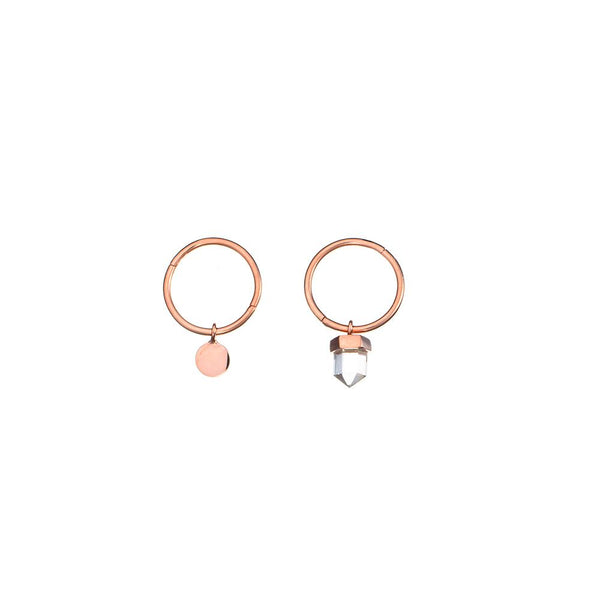 Krystle Knight Maui Quartz Coin Sleepers - Rose Gold