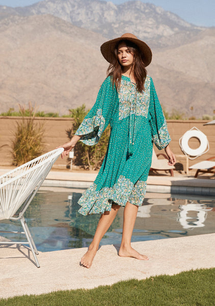 Auguste Palm Springs Poolside Midi Dress - Emerald