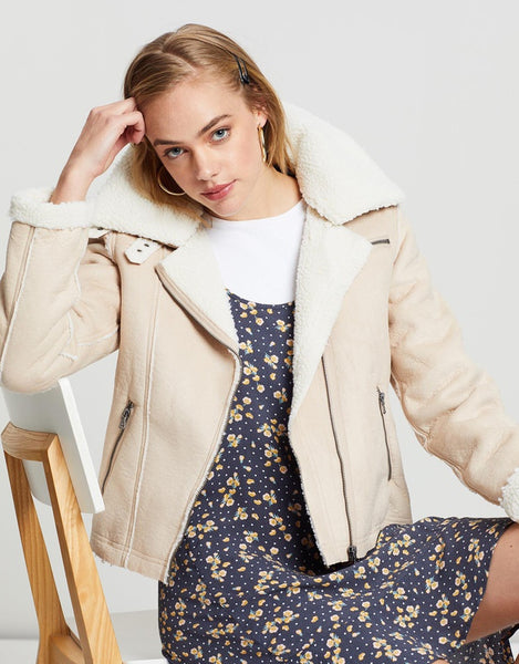All About Eve Navigator Shearling Jacket - Fawn