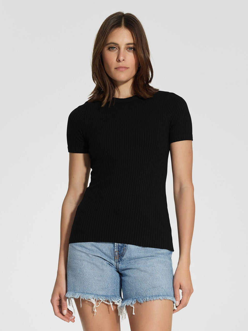 Nobody Denim Luxe Rib Bound Tee - Black