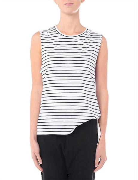 Nude Lucy Keira Basic Muscle Tank - Navy Stripe