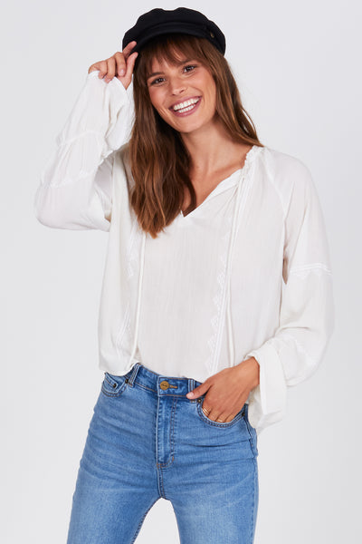 Amuse Society Pebble Woven Top - Casa Blanca