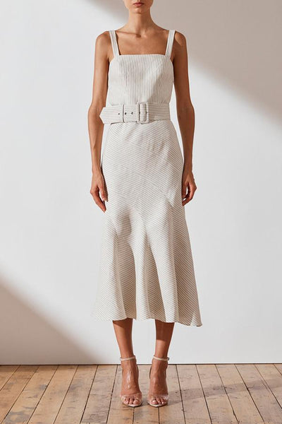 Shona Joy Shaw Linen Contour Panel Midi Dress